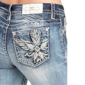 Miss Me Wing embellished pocket Easy skinny jeans